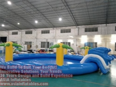 Diam 10m Inflatable Round Pool with Slide Ladder